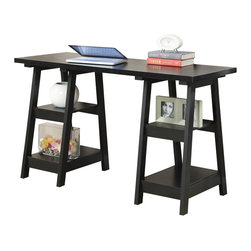 Convenience Concepts - Convenience Concepts Desk X-LB702090 - The Designs2Go Trestle Desk by Convenience Concepts, Inc. has a variety of key features. With Four fixed shelves that provide plenty of space for the extras - such as files, books, or even supplies. The Perfectly sized desk top has ample space for computer, keyboard and mouse. All the necessities and then some. The sleek contemporary design is just an eye pleasing plus.