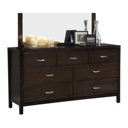 "Modus Furniture - Modus Urban Loft Seven Drawer Dresser in Dark Wood - Modus Furniture - Dressers - 2O2682 - The Urban Loft collection is designed to bring comfort style and function to metropolitan bedroom settings. Case goods are scaled to fit comfortably in urban spaces and at 55"""" high the bed stands out without overpowering the overall room decor. Solid wood drawers are constructed with English dovetail joinery and use full extension ball bearing glides for smooth easy operation. The media chest accommodates televisions up to 55 inches while the luxurious padded leatherette headboard creates a perfect setting to relax and enjoy a movie. The Urban Loft collection is built to last with metal-to-metal bed rail fittings center leg supports Tropical Mahogany solid wood Eastern Ash wood veneer and a multi-step American-style finish.Features:"