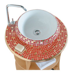 WS Bath Collections - LVT 100 - Impero Rosso Bathroom Sink - Ceramica by WS Bath Collections 16.1 Ø x 5.9 Above The Counter Bathroom Sink/ Washbasin in Hand Painted and Hand Decorated Ceramic