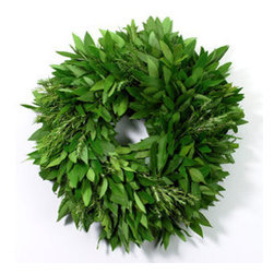 Bay Leaf Wreath with Rosemary by McFadden Farm - A fresh bay leaf and rosemary wreath will make stepping in through the front door that much more enjoyable.