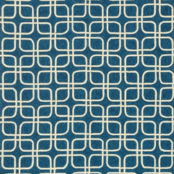 """Loloi Rugs - Loloi Rugs Venice Beach Collection - Blue/Ivory, 7'-10"""" Round - The Venice Beach Collection brightens up your home - inside or out - with a series of appealing, modern, hand-hooked designs from China. Made of 100-percent polypropylene, the rugs are UV and mildew-resistant."""