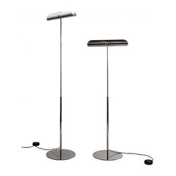 """Anton Angeli - Anton Angeli Gondola floor lamp - The Gondola floor lamp from Anton Angeli has been designed by Mario Barbaglia in 2000 This floor mounted luminaire is perfect for direct halogen lighting. A collection of lamps for floor, table, wall in die-casted aluminium. The diffuser is shaped in the style of a 'roof-tile' conventionally to illuminate worktops, mirrors or paintings. G9 halogen lamps, for direct light, linear halogens, in the models using reflected light. This fixture is constructed from premium die cast aluminum or chrome with pyrex glass. Available finish options: chrome, satin nickel or aluminum. Upper shade in opaline technopolimer.   Product description:  The Gondola floor lamp from Anton Angeli has been designed by Mario Barbaglia in 2000 This floor mounted luminaire is perfect for direct halogen lighting. A collection of lamps for floor, table, wall in die-casted aluminium. The diffuser is shaped in the style of a 'roof-tile' conventionally to illuminate worktops, mirrors or paintings. G9 halogen lamps, for direct light, linear halogens, in the models using reflected light. This fixture is constructed from premium die cast aluminum or chrome with pyrex glass. Available finish options: chrome, satin nickel or aluminum. Upper shade in opaline technopolimer.   Details:      Manufacturer:    Anton Angeli      Designer:    Mario Barbaglia, 2000      Made in:    Italy      Dimensions:    Overall Height: 57.1""""-72.8"""" (145-185 cm) Diffuser Width: 18.5"""" (47 cm)       Light bulb:    1 X 200W halogen      Material:    Aluminum or Chrome, Technopolimer"""