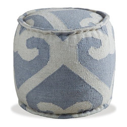 Interlude - Interlude Amelia Ottoman - A gray and cream kilim takes on an almost regal air in the elegant but approachable Amelia Ottoman.