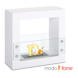 Moda Flame - Moda Flame Porta Free Standing Ventless Ethanol Fireplace White - The Porta's contemporary fireplace flame can be visible from almost any point in a room with its opening on both sides of the square shaped steel body. It sits nicely against a wall, in a quiet corner, or as an inconspicuous room divider. Two tempered glass sheets on each side act as a protector from the flame.