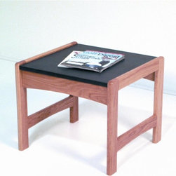 Wooden Mallet - Dakota Wave Solid Wood End Table w Durable Bl - Finish: Dark Red MahoganyPictured in Light Oak finish. 1 In. thick solid oak frame. Coated with durable state-of-the-art finish to stand up to heavy use. Tasteful contemporary styling coordinates with any decor. Granite-look, black melamine top is scratch resistant. Minimal assembly required. Made in the USA. 1-Year limited warranty. 20 in. D x 21.5 in. W x 18 in. H (22 lbs.)Wooden Mallet's solid oak end table is a thoughtful addition to your office furniture. Stylish, economical, and durable, this table is built to stand up to the heavy use of a busy office environment. It's the kind of modern office furniture you've been looking for. Use it as part of our suite of Dakota Wave furniture, and completely furnish your waiting room.