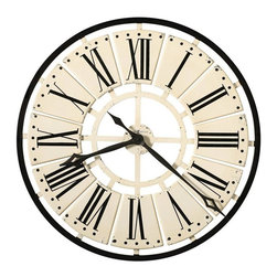 "HOWARD MILLER - Howard Miller Pierre 31-1/2"" Large Wall Clock - This striking metal clock is over 31"" in diameter and is finished in antique white with an antique black outer ring."