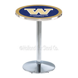 Holland Bar Stool - Holland Bar Stool L214 - Chrome Washington Pub Table - L214 - Chrome Washington Pub Table belongs to College Collection by Holland Bar Stool Made for the ultimate sports fan, impress your buddies with this knockout from Holland Bar Stool. This L214 Washington table with round base provides a commercial quality piece to for your Man Cave. You can't find a higher quality logo table on the market. The plating grade steel used to build the frame ensures it will withstand the abuse of the rowdiest of friends for years to come. The structure is triple chrome plated to ensure a rich, sleek, long lasting finish. If you're finishing your bar or game room, do it right with a table from Holland Bar Stool. Pub Table (1)