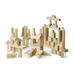 "Maple Landmark - Maple Landmark Advanced Builder Block Set -78 Pieces - Crafted from locally sourced, sustainably harvested maple hardwood, the Advanced Builder Set of Montgomery Schoolhouse building blocks contains 78 pieces in 17 different shapes. The base block unit is 1"" and each dimension of all blocks is a multiple of 1"" so blocks can be stacked cleanly and uniformly. Each set comes in a sturdy box for storage. Made in the USA"