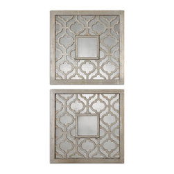 Uttermost - Uttermost Sorbolo Squares Decorative Mirror Set of 2 13808 - Frames feature a decorative design finished in antiqued silver leaf with black undertones and antiqued mirrors.