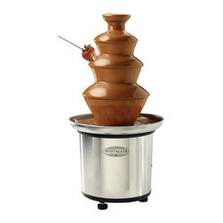 Nostalgia Electrics - Nostalgia Electrics CFF-986 3-Tier Stainless Steel Chocolate Fondue Fountain Mul - Shop for Chocolate Fountains from Hayneedle.com! Don't pay a caterer for a chocolate fountain when you could own the Nostalgia Electrics CFF-986 3-Tier Stainless Steel Chocolate Fondue Fountain for so little. It's an investment you'll thank yourself for over and over. You want the right size for everything. No matter if it's clothes or car too big or too small just won't cut it. This mid-size fountain fits wherever you put it. Dessert deserves to be covered in chocolate. Your party deserves a fountain. You'll never have trouble operating this one. Just melt up to 2 lbs. of chocolate and pour it into the durable stainless steel base. Switch on the motor and let the amazement begin. The auger carries the liquid chocolate to the top and then it cascades over the three-tier design. At just 5.5 lbs the whole fountain can be carried under your arm as you take your show on the road. And when it's over the auger and plastic tiers can go in the dishwasher for easy clean-up. Remember double dipping is only a crime if you get caught. About Nostalgia ElectricsAt Nostalgia Electrics the aim is to add excitement to your small appliance. Whether you find one of their products in a retail store home shopping network or online it is guaranteed to meet and exceed your expectations. They strive for innovation in small appliances. While many of their products are designed to optimize your hosting experience safety does not take a back seat. All Nostalgia Electrics carry the GS and SSA electrical approvals. Nostalgia Electrics Everyday's A Party.