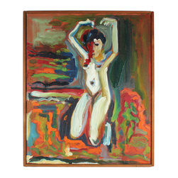Lost Art Salon - Anger/Fury 1978 Original Bay Area Figurative Abstract by Alysanne McGaffey - This bold, evocative oil on canvas portrait from 1978 will strike quite a figure on your wall. This vibrant piece by Bay Area artist Alysanne McGaffey comes in a restored midcentury hand-built wood frame.