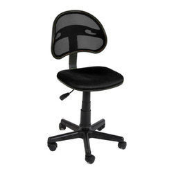 Black Computer Chair with Fabric Pads - Product Description: