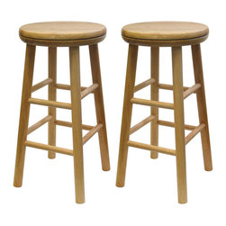 Winsome Wood - Winsome Wood Set of 2 - Swivel 24 Inch Stool in Beech - An old classic with a new twist. The 24 inch Swivel Bar Stool is perfect for any area of the home. The seat swivels for optimum comfort and accessibility. Barstool (2)