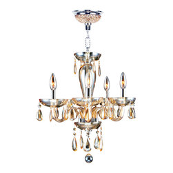 Worldwide Lighting - Worldwide Lighting W83127C16-AM Gatsby 5 Light Hand-blown Glass Chrome Finish wi - Worldwide Lighting W83127C16-AM Gatsby 5 Light Hand-blown Glass Chrome Finish with Amber Crystal Chandelier