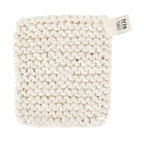 Pot Holder, White - Hand knitted pot holder in a thick linen/cotton blend. Useful for hot oven trays, pots and dishes. Crafted by visually impaired artisans in Sweden.