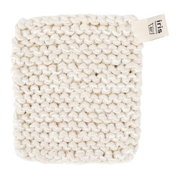 Pot Holder - White - Hand knitted pot holder in a thick linen/cotton blend. Useful for hot oven trays, pots and dishes. Crafted by visually impaired artisans in Sweden.