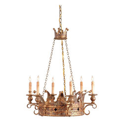 Currey & Company - Currey & Company Crown Chandelier CC-9547 - Fit for a king's palace, the rich colors of the Viridian Gold finish give this chandelier an authentic antique look. Nicely proportioned, the form and size of this piece make it just right for royalty.