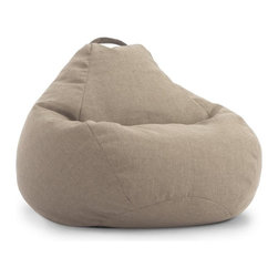 """Comfort Research - Big Joe Lux 132"""" Teardrop Golden Hitchcock Beanbag - _Give me your tall, your small, your people of all sizes yearning to be relaxed._ This is the creed of the Teardrop chair because it_s a chair for the people - all the people. Size, shape and build are of no concern, so come and sit as you are. Take in all 132_ of UltimaX  bean filling, Filled with UltimaX Beans that conform to you.  Double stitched and double zippers. Spot clean. Please note this item requires an additional shipping timeline of 10-14 days."""