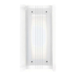 A-19 Lighting - Jewel String Quartette Wall Sconce - Like the strings of a violin, four simple white lines on clear mottled glass create stunning beauty. Choose our original all-white version for clean simplicity, or customize to match your own space with any of our hand-applied finishes. A-19 Lighting - G2D