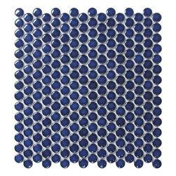 ROCA, US CERAMIC, LAUFEN TILE - CC Mosaics 12X12 Cobalt Bright Penny Round Mosaic