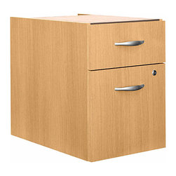 "Bush Business - Under Desk 3/4 Pedestal File Cabinet in Light - The Light Oak Series C Under Desk 3/4 File Pedestal mounts to either side of our Bow Front desk, 72 inch desk or 66 inch desk.  The pedestal provides one box and one file drawer with full-extension ball bearing slides. * Mounts to left or right side of Bow Front Desk, Desk 72"" and Desk 66"". One box and one file drawer for storage needs. File drawer has full-extension ball bearing slides and accepts letter or legal-size files. One lock on file drawer secures both drawers for work place privacy . Fully finished drawer interiors. 15.512 in. W x 20.276 in. D x 20 in. H"