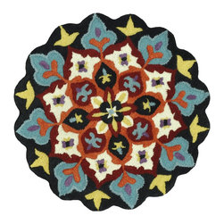 Loloi Rugs - Loloi Rugs Gardenia Black-Ivory Transitional Hand-Tufted Rug X-R003VILB40AGHDRAG - Like a vase of flowers in full boom, Gardenia adds a little pop of color that brings life to your entire home. Hand-tufted in India of 100% wool, Gardenia comes in lovely, easy-to-place 3 foot round rugs with cute shaped borders - perfect for refreshing the kitchen, entryway, bedroom, bathroom, or just any area in need of a colorful pick-me-up.
