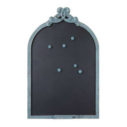 Uttermost Junia Aged Blue Chalkboard - Distressed aged blue with black undertones and a light gray glaze. This ornate chalkboard features a frame finished in distressed aged blue with black undertones and a light gray glaze. Chalk holder is attached.