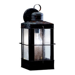 KICHLER - KICHLER Concord Transitional Outdoor Wall Sconce X-BO9749 - Clean lines and timeless lantern styling are complimented by subtle maritime influencing on this Kichler Lighting outdoor wall sconce. From the Concord Collection, it features a unique Olde Brick finish and coordinating clear seedy glass panels that complete the look. U.L. listed for wet locations.