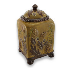 Zeckos - Earthtone Square Ceramic Lodge Cookie Jar 10 In. - Add a decorative accent inspired by nature to your kitchen countertop with this ceramic cookie jar. It measures 10 inches (25 cm) tall, 5.5 inches (14 cm) long, 5.5 inches (14 cm) wide, and it is both microwave and dishwasher safe. A silicone ring around the lid helps keep all kinds of goodies fresh, from cookies to dog treats. This piece makes an excellent housewarming gift for friends and family that is sure to be admired.