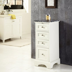 Home Styles - Home Styles Naples Bathroom Floor Cabinet Multicolor - 5530-133 - Shop for Bathroom Etageres Racks and Space Savers from Hayneedle.com! The Home Styles Naples Bathroom Floor Cabinet has a handsome cottage design and a bold contrasting look. This charming bathroom cabinet has a compact frame constructed from fine hardwood solids and engineered wood and fits neatly next to your vanity. A white finish protects the piece complemented by the solid black marble top. Four spacious pull-out drawers and one pull-out tray are built into the frame accented with brushed nickel hardware.About Home StylesHome Styles is a manufacturer and distributor of RTA (ready to assemble) furniture perfectly suited to today's lifestyles. Blending attractive design with modern functionality their furniture collections span many styles from timeless traditional to cutting-edge contemporary. The great difference between Home Styles and many other RTA furniture manufacturers is that Home Styles pieces feature hardwood construction and quality hardware that stand up to years of use. When shopping for convenient durable items for the home look to Home Styles. You'll appreciate the value.