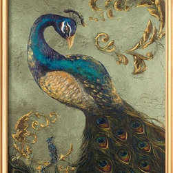 Artcom - Peacock on Sage II by Tiffany Hakimipour - Peacock on Sage II by Tiffany Hakimipour is a Framed Art Print set with a COVENTRY Gold Thin wood frame.
