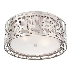 "George Kovacs - George Kovacs Layover 15 3/4"" Wide Chrome Ceiling Light - This flushmount chrome ceiling light is a great addition for homes with modern decor inspiration. Perfect for dining areas living rooms and entryways this graceful fixture has an intricate openwork design with a white interior shade for dimensional shine. A sleek chrome finish and frosted white glass diffuser complete this stunning look. From George Kovacs. Chrome finish ceiling light. Flushmount design. Openwork frame. White fabric shade interior. Frosted white diffuser. Takes two maximum 100 watt or equivalent bulbs (not included). 15 3/4"" wide. 7"" high.  Chrome finish ceiling light.  Flushmount design.  Openwork frame.  White fabric shade interior.  Frosted white diffuser.  From the George Kovacs ceiling light collection.  Takes two maximum 100 watt or equivalent bulbs (not included).  15 3/4"" wide.  7"" high."