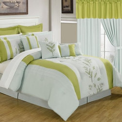 Lavish Home 25 Piece Room-In-A-Bag Maria Bedroom Set - A fresh new look for any bedroom, the Lavish Home 25 Piece Room-In-A-Bag Maria Bedroom Set is a complete room make-over in one. All pieces coordinate perfectly and this collection includes everything you need, from bedding to window treatments. It's made of luxuriously soft polyester, and the comforter is oversized, overfilled, and embroidered. You'll fall for the contemporary white-and-green color palette with embroidered botanical pattern. All pieces are machine-washable in cold water and may be tumbled dry on low.Set Includes:1 Comforter1 Bedskirt: 15D in.2 Pillow shams: 20 x 36 in.3 Euro pillow shams: 26 x 26 in.4 Decorative pillows1 Flat sheet1 Fitted sheet2 Pillowcases4 Window panels: 56 x 84 in.2 Window valances: 84W x 15L in.4 Curtain tie-backsComforter Dimensions:Queen: 92L x 92W in.King: 106L x 92W in.About Trademark Global Inc.Located in Lorain, Ohio, Trademark Global offers a vast selection of items for your home and lifestyle. Whether you need automotive products, collectibles, electronics, general merchandise, home and garden items, home decor, housewares, outdoor supplies, sporting goods, tools, or toys, Trademark Global has it at a price you can afford. Decor items and so much more are the hallmark of this company.