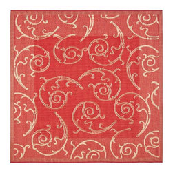 "Safavieh - Indoor/Outdoor Courtyard Square 6'7"" Square Red - Natural Area Rug - The Courtyard area rug Collection offers an affordable assortment of Indoor/Outdoor stylings. Courtyard features a blend of natural Red - Natural color. Machine Made of Polypropylene the Courtyard Collection is an intriguing compliment to any decor."