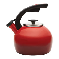 Rachael Ray - Rachael Ray Tea Kettles 2 qt. Crescent - Two-Tone Red Multicolor - 56913 - Shop for Kettles (Stovetop) from Hayneedle.com! Put on the kettle with a touch of modern style by taking the Rachael Ray Teakettles 2 qt. Crescent - Two-Tone Red to the stove. This kettle features a contemporary design with a unique crescent handle and squeeze-and-pour spout. Its two-tone red enamel finish brightens up any stovetop. A traditional whistle alerts you when it's time to stop staring and start pouring.About Rachael Ray Cookware and CutleryRachael Ray means fun functional colorful cookware and cutlery inspired and endorsed by the TV personality herself. Express yourself through your cookware with these truly unique pieces made with high-quality materials like cast iron and bright enamel exteriors. These hard-working pieces are perfect for all types of cooks from casual home users to commercial chefs and you'll love the way they look in your kitchen.