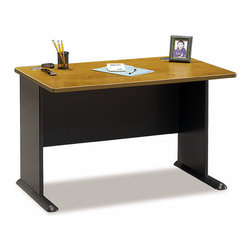 Bush Business - 48 in. Office Desk in Medium Cherry - Series - When a smaller workspace works well, pull up to our 48 inch Office Desk Advantage.  Idea for setting up your PC or taking care of homework, it�۪s finished in a durable scratch-resistant Medium Cherry.  Ideal for students, it can serve well as the centerpiece of your home office. * Diamond Coat� top surface is scratch and stain resistant. Steel insert in molded feet w levelers. Wire access/concealment system in side and top panel. C-leg design offers more leg room. PVC banding on edge. Medium Cherry finish. 47.480 in. W x 26.811 in. D x 29.764 in. H