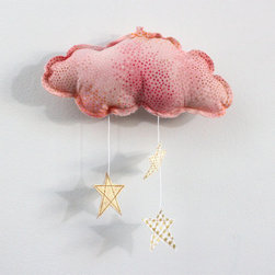 Gold Stars and Pink Cloud Wall-Hung Mobile by Baby Jives Co. - Baby Jives makes the sweetest mobiles for baby. The pink cloud is my current favorite.