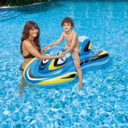 Swim Time Blade Runner 5 ft. Inflatable Ride-On Pool Toy - Ride and play through the water without the speed and safety hazard with the Polygroup Blade Runner 5 ft. Inflatable Ride-On Pool Toy. This fun inflatable looks like a real watercraft and features a durable vinyl construction and grab handles for stability. A contoured leg area makes for easy kicking and speedy swimming.About SplashNet XpressSplashNet Xpress is dedicated to providing consumers with safe, high-quality pool products delivered in a fast and friendly manner. While it's adding new product lines all the time, SplashNet Xpress already handles pool maintenance items, toys and games, cleaning and maintenance devices, solar products, and aboveground pools.