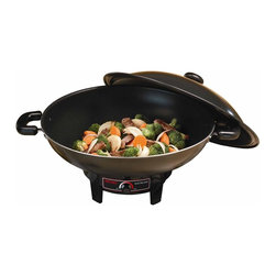 Aroma - Aroma 6.5-quart Electric Wok - This sleek metal wok from Aroma is designed to heat up quickly and retain its extreme heat as you cook; sealing in the flavor of your foods for professional results, every time. Full range temperature controls give great versatility. To make clean-up as easy as operation, the inside of the wok and domed lid are nonstick coated. Not just for stir-fry, it's also great for braising, steaming, and tempura. It's everything you need to make all your favorite modern and traditional Asian foods. Large 6.5-quart capacity with high domed lid . Rapid heat-up with consistent heat retention . Full-range temperature control . Durable nonstick coating . Cool-touch base and handles