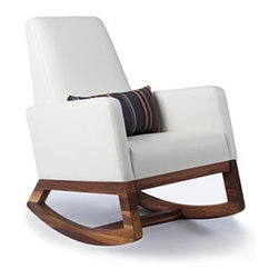 "Monte Design - Monte Design | Joya Rocker - Handmade in Toronto, Canada by Monte Design.Contemporary design and exceptional comfort come together in the Joya Rocker. This rocking chair offers a small footprint, integrated seat cushion, simple, clean lines and smooth rounded edges. Designed with feedings in mind, this rocking chair features an appropriate arm rest height, a high back for proper head rest, a removable lumbar pillow and a gentle rock. While the Joya Rocker may be the ideal nursery chair, its simple lines and tailored look make it a favorite in living rooms as well. Product Features:  Solid American Walnut or White rocker base Ergonomic arm rest height High back for proper head support Removable lumbar cushion with optional fabrics 6"" dense foam wrapped with polyester batting 2-3"" foam padding on arms and back wrapped in polyester batting Foam is locally manufactured from natural seed-based oils, halogen free, low VOC, and is free of mercury, lead and other heavy metals Foam is free from CFCs, PBDEs and TDCPPs Heavy-gauge steel spring suspension support Durable, stain-resistant microsuede fabric or bonded leather Quality hardwood and engineered plywood frames with screwed and glued joints for extra strength and durability All woods meet the LEED Rating System for wood adhesives and certified by the Forest Stewardship Council (FSC) Fabrics and threads are manufactured according to Oeko-Tex® Standard 100 Handmade to order in Toronto, Canada"