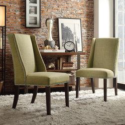 Inspire Q - INSPIRE Q Geneva Yellow Linen Wingback Hostess Chairs (Set of 2) - Regency Yellow Green Linen Nailhead Wingback hostess Chair (Set of 2)