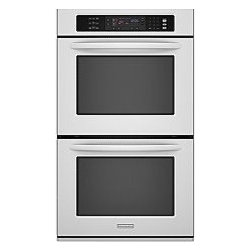 """Kitchenaid 30"""" Double Wall Oven - Double wall oven features Even-Heat™ True Convection system in upper oven with EasyConvect™ Time & Temperature Conversion System in upper oven that lets you simply enter conventional cooking time and temperature while the oven makes the precise convection conversion for superior results every time. Self-cleaning system has soil level/time selection."""