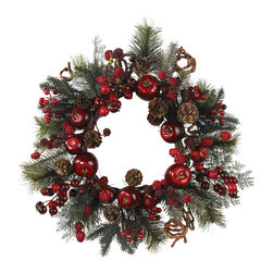 Nearly Natural - 22in. Apple Berry Wreath - Savor the sweet ambience of apples and berries with this vibrant, multicolored wreath. Shades of crimson and wine envelop this gorgeous creation, surrounded by a blend of lush greenery. Each delicately crafted piece of fruit is so natural looking; only you'll know it isn't to be picked and eaten! At twenty two inches in diameter, it's the perfect size to adorn your front door or displayed proudly on a dining room wall.
