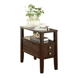 "ACMACM80157 - Begonia Espresso Finish Wood and Chair End Table with Storage Drawer - Begonia espresso finish wood and chair end table with storage drawer and lower shelf area. Measures 12"" x 24"" x 24"" H. Some assembly required."