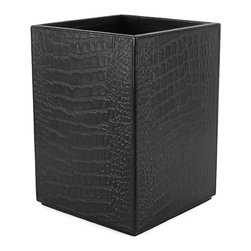 Pfeifer Studio - Crocodile Leather Waste Bin - This exclusive leather waste bin design is embossed with the look of crocodile and constructed from wood board with a black painted interior and rubber base. Our leather accessories are crafted by artisans and have a hand made feel, distinguishing them from mass-produced styles. The leathers are tanned naturally, a process which does not hide the inherent characteristics of the skins, instead enhancing their unique beauty.