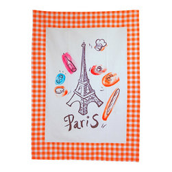 Provence Imports - Paris Bistro Cotton Tea Towel - Orange - This fun tea towel includes the main aspects of proper French life: baguette, cheese, croissant, espresso, wine bottle, wine glass, chef hat and -- of course -- the Eiffel tower! Printed in vibrant colors on a soft cotton towel with an orange bistro check border, it is ready for work.