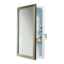 Broan-Nutone Locking 15.75W x 25.5H in. Recessed Medicine Cabinet 625N244 - Style and safety come together in the Broan-Nutone Locking Recessed Medicine Cabinet - 15.75W x 25.5H in. An integrated lock permits secure storage of medications, cosmetics, and personal items to reduce accidents and abuse. The exterior mirror is framed in your choice of classic Oil-Rubbed Bronze finish or sleek Satin Nickel. The hidden piano hinge opens easily to reveal lots of recessed storage space on three adjustable glass shelves, and it's reversible to open left or right. The hydro-formed steel body has white baked-enamel paint so it cleans with a wipe. It's a beautiful addition to any classic bathroom. Backed by a one year manufacturer's warranty. Assembles easily with included instructions.Dimensions: 15.75W x 5D x 25.5H inchesRough opening required: 14W x 3D x 24H inchesShelf depth: 3D inchesAbout Broan-NuToneBroan-NuTone has been leading the industry since 1932 in producing innovative ventilation products and built-in convenience products, all backed by superior customer service. Today, they're headquartered in Hartford, Wisconsin, employing more than 3200 people in eight countries. They've become North America's largest producer of medicine cabinets, ironing centers, door chimes, and they're the industry leader for range hoods, bath and ventilation fans, and heater/fan/light combination units. They are proud that more than 80 percent of their products sold in the United States are designed and manufactured in the U.S., with U.S. and imported parts. Broan-NuTone is dedicated to providing revolutionary products to improve the indoor environment of your home, in ways that also help preserve the outdoor environment.