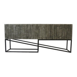 Barclay Dark Gray and Black 5 Door Tall Sideboard