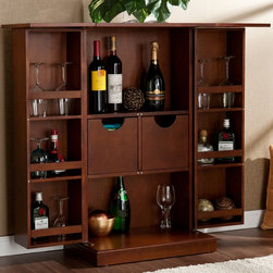 Trinity Walnut Fold-Away Bar - Now you can show off your wine, but only when you want, thanks to this walnut fold-away bar. This bar gives you space to store your favorite wines, as well as six shelves for glasses and more, and the entire cabinet can be folded up to optimize space.