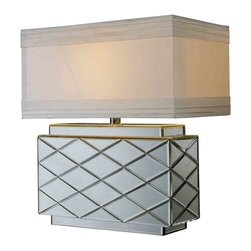 Dimond Lighting - Dimond Lighting D1835 Wellsville Clear Table Lamp - Wellsville Table Lamp in Mirror Finish with Milano Pure White Shade and Silver Foil Liner